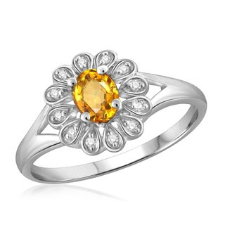 Jewelonfire Sterling Silver 1/4ct TGW Citrine and Diamond Accent Flower Ring