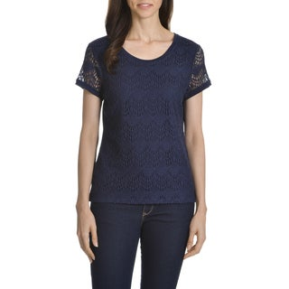 89th & Madison Women's Lace-front Zip-back Top