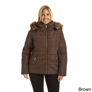 Excelled Women's Hooded Short Puffer (Option: Brown - 2X)