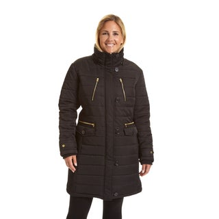 Excelled Women's Plus Size 3/4-length Hooded Puffer Coat