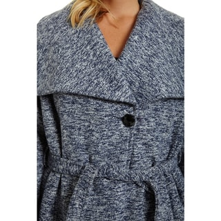 Excelled Women's Polyester Plus Size Belted Boucle Jacket