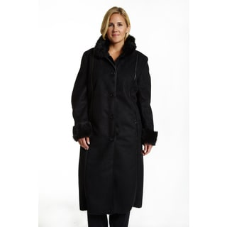 Excelled Women's Plus-size Black Full-length Faux Shearling Jacket
