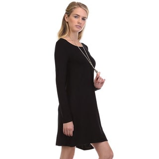 JED Women's Soft Rayon/Spandex Long-sleeve Casual Solid Short Dress