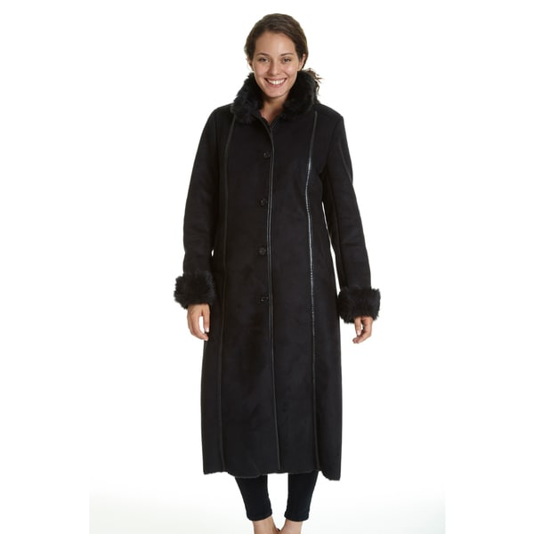 Excelled Women's Full-length Faux Shearling Jacket - Free Shipping ...
