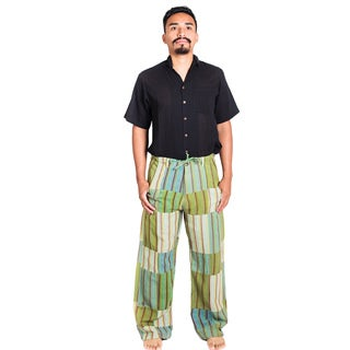 Handmade Hemp/ Cotton Blend Men's Funky Stripe Pants (Nepal)