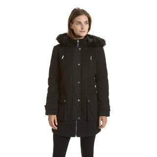 Excelled Women's Faux Wool Hooded Multi Pocket Jacket