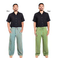 Handmade Hemp Blend Men's Funky Stripe Pants (Nepal)
