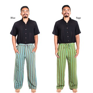 Handmade Hemp Blend Men's Funky Stripe Pants (Nepal)
