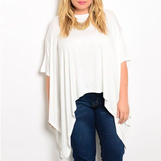 JED Women's Plus Size White Rayon/Spandex Loose Fit Batwing Tunic