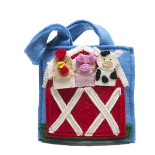 Handmade Felted Wool Kid's Barnyard Puppet Bag (Nepal)