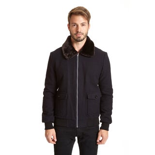 Excelled Men's Big and Tall Faux Wool Jacket With Faux Fur Collar