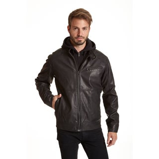 Excelled Men's Big and Tall Faux Leather Jacket with Quilted Shoulder Detail
