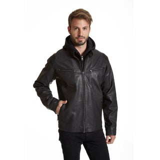 Excelled Men's Black Faux Leather Racer Jacket
