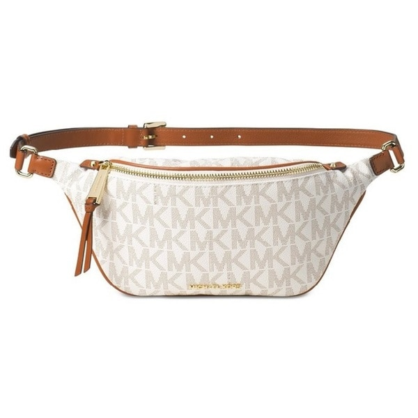 7b5d533112a2 Shop Michael Kors Small Rhea Vanilla Zip Signature Belt Bag - Free ...