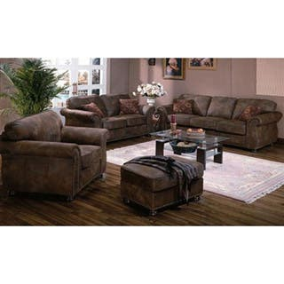 Porter Elk River Faux Suede Leather Microfiber Living Room Set with Roll Arms and Nailhead Trim and Optional Ottoman