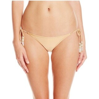 PilyQ Lux Goldtone Crochet Tassel Teeny Bikini Bottom