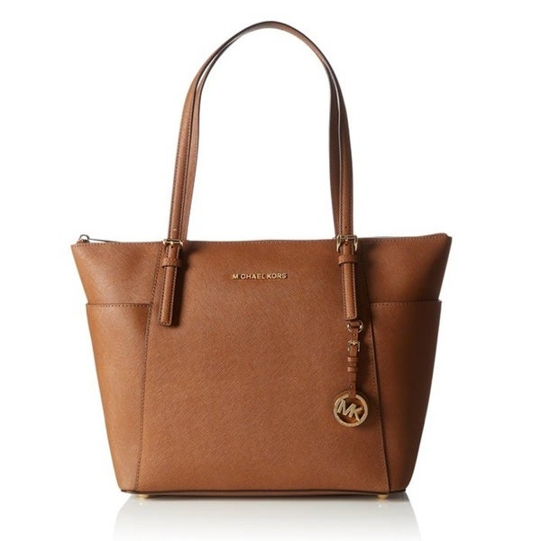 38aab2e41f0f Michael Kors Jet Set Large Top-Zip Saffiano Leather Tote Bag - Luggage
