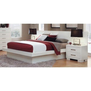 Coaster Company Jessica White Platform Bed With Rail Seating