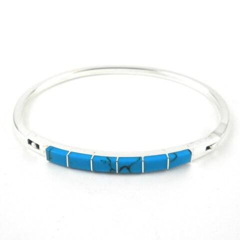 Handmade Turquoise and Alpaca Silver Clip Bracelet - Artisana Jewelry (Mexico)