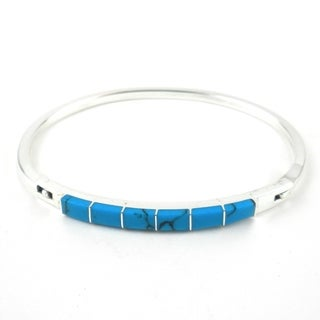 Handmade Turquoise and Alpaca Silver Clip Bracelet - Artisana Jewelry (Mexico)