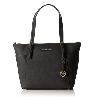 Michael Kors Jet Set Large Top-Zip Saffiano Leather Tote Bag - Black