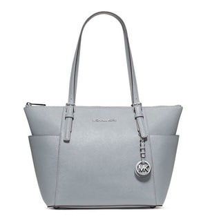 Michael Kors Jet Set Dusty Blue Top-Zip Tote Bag