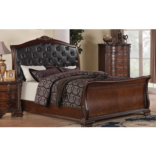 Coaster Company Tufted Black Faux Leather Cappuccino Wood Bed