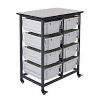 Luxor MBS-DR-8L Black Steel and Grey Plastic Double Row Mobile Bin System