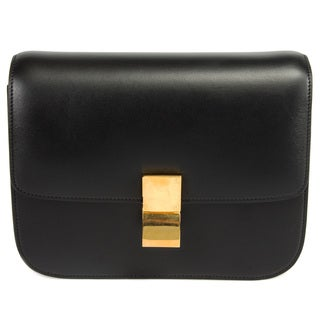 Celine Box Classic Shoulder Bag in Black Calfskin w/ Gold Hardware Size Medium