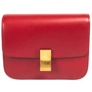 Celine Box Classic Shoulder Bag in Red Calfskin w/ Gold Hardware Size Medium