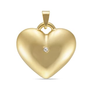 Forever Last 14k Yellow Gold Puffed Heart Charm with Crystal Accent