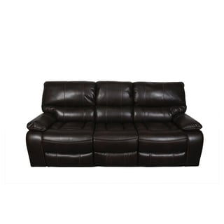 Porter Alameda Chocolate Brown Leatherlike Dual Reclining Sofa with Fold Down Center Console and Contrast Welt