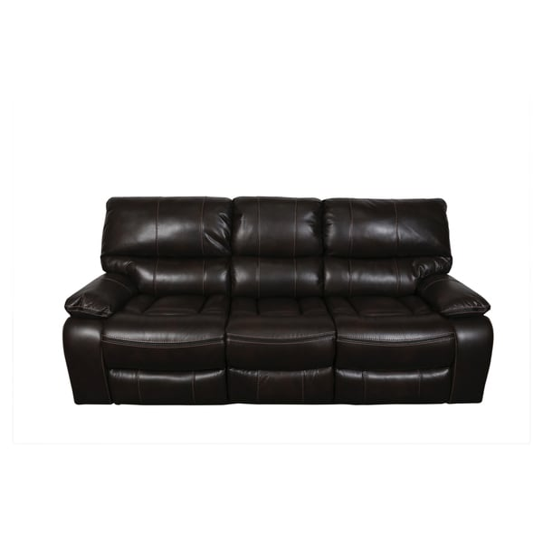 Porter Alameda Chocolate Brown Leather Like Dual Reclining Sofa With Fold Down Center Console And
