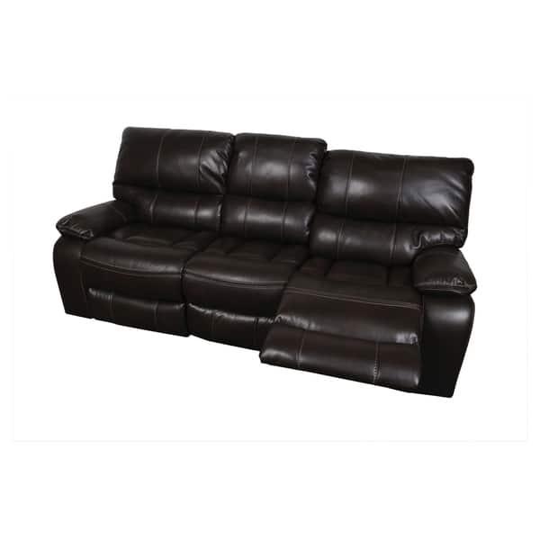 Shop Porter Alameda Chocolate Brown Leather-like Dual Reclining Sofa ...