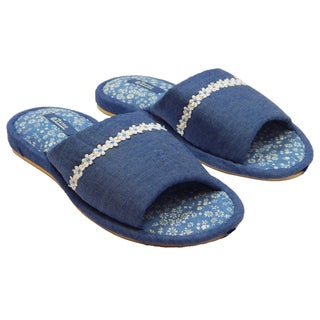 Vecceli Women's Model VE-51 White Flowery Lace Blue Denim Slippers