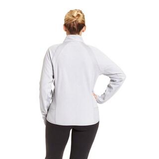 Champion Women's Plus-size Active Knit Textured Fleece Mock Neck Jacket
