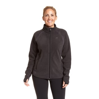 Champion Women's Plus-size Active Knit Textured Fleece Mock Neck Jacket