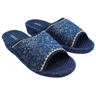 Vecceli Women's VE-45 Blue Denim Patterned Open-back/Open-toe Slippers