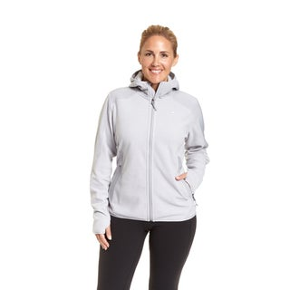 Champion Women's Plus Size Textured Grey/Silver Fleece Zip Front Hoody with 4-Way Stretch Overlay