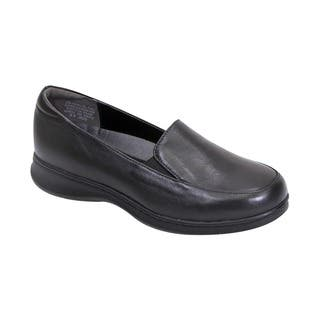 Fic Peerage Olivia Women's Black/Brown Leather Wide-width Loafers|https://ak1.ostkcdn.com/images/products/12382231/P19205109.jpg?impolicy=medium