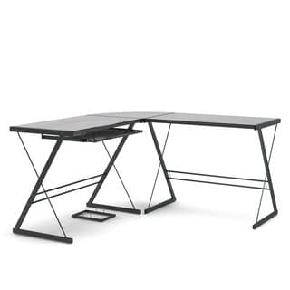 Gibson Living Madison Steel Frame Glass Top L-Shaped Home Office Desk