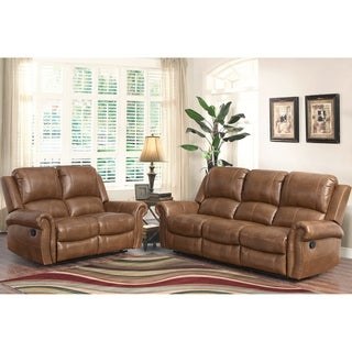 Abbyson Skyler Cognac 2-piece Leather Reclining Set