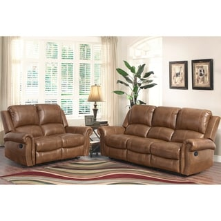 ABBYSON LIVING Skyler Cognac 2-piece Leather Reclining Set
