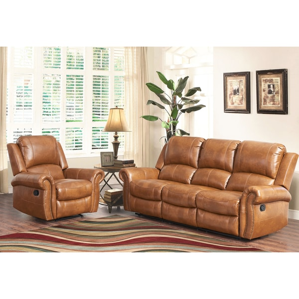 Abbyson skyler cognac 2 piece leather reclining living room set free shipping today 2 piece leather living room set