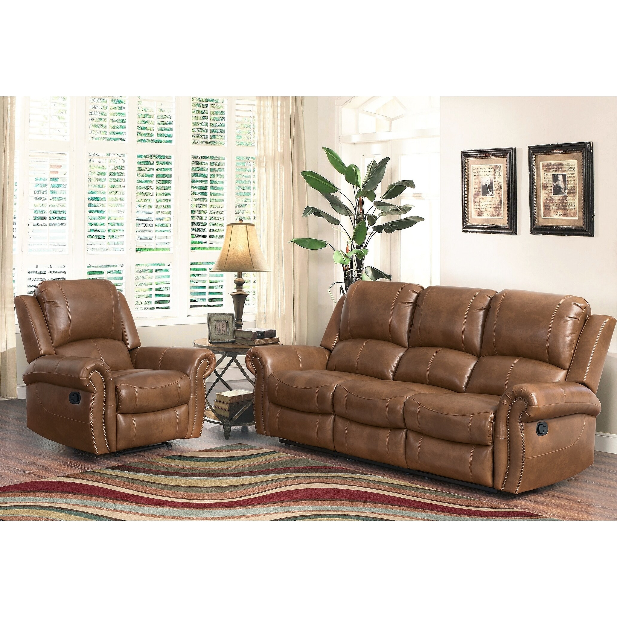 Abbyson Skyler Cognac 2-piece Leather Reclining Living Room Set