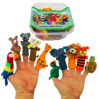 ThumbThings Handmade Finger Puppets Set of 10: Parrot, Kangaroo, Koala, Monkey, Giraffe, Macaw, Lion, Tiger, Tortoise (Peru)