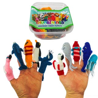 ThumbThings 10 Handmade Finger Puppets : Flamingo, Dolphin, Fish, Penguin, Walrus, Spoonbill, Whale, Whale, Jellyfish (Peru)
