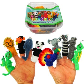 ThumbThings 10 Handmade Finger Puppets : Gecko, Lion, Monkey, Dolphin, Panda, Peacock, Elephant, Zebra, Hippo, Iguana (Peru)