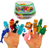ThumbThings 10 Handmade Finger Puppets: Whale, Jellyfish, Fish, Penguin Octopus, Flamingo, Lion, Tiger, Alligator, Turtle (Peru)