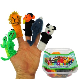 ThumbThings Handmade Finger Puppets, Set of 5: Gecko, Baby Lion, Monkey, Dolphin, Panda Bear (Peru)